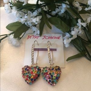 NWT Betsey Johnson Rhinestone Pierced Earrings